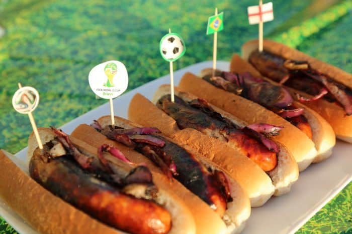 Football Party Food - Barbeque hot dogs with team flags