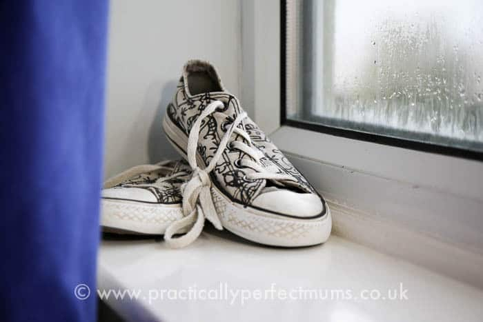 Chelsea Football Bedroom Makeover curtains and converse