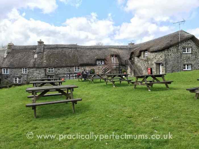 Dining tables in the garden at Bearslake Inn, Sourton, Dartmoor