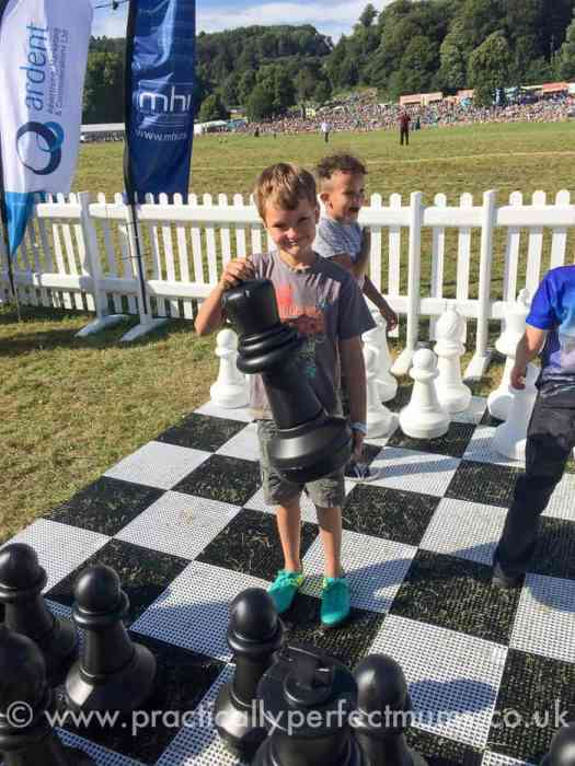 Giant chess in the members enclosure at Bristol Balloon Fiesta 2016