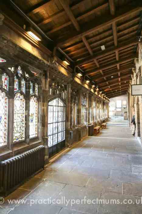 Bristol Cathedral Cloister and stain glass windows