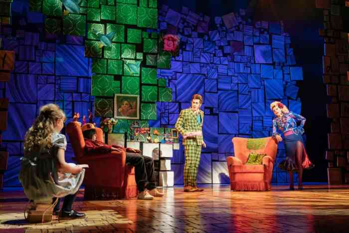 Matilda with Mr and Mrs Wormwood at home.Matilda the Musical Review at Bristol Hippodrome