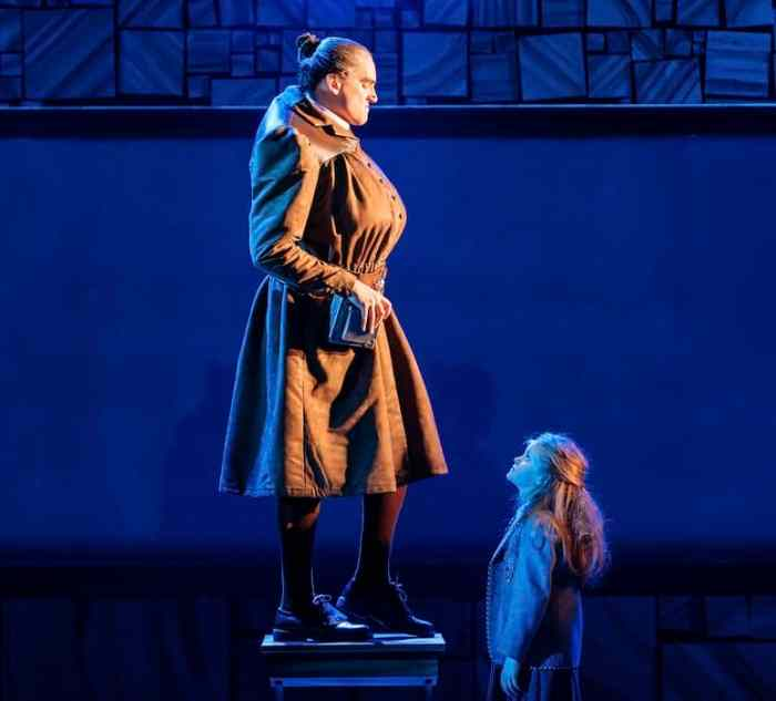 Miss Trunchball in Matilda the Musical Review at Bristol Hippodrome