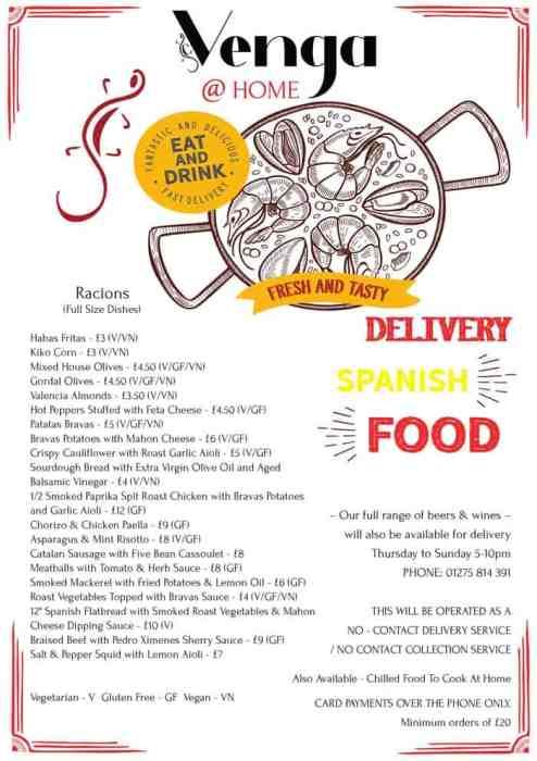 Venga takeaway menu during Coronavirus in Portishead