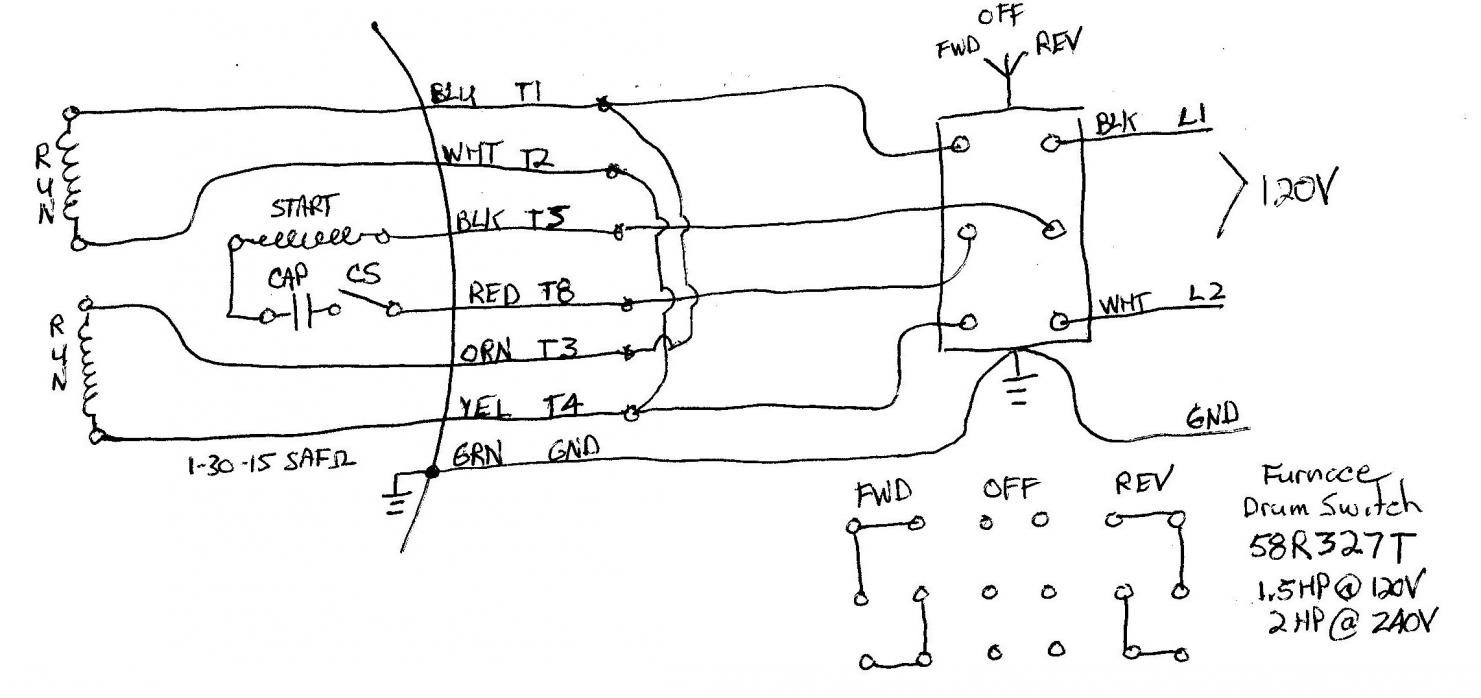 Wiring A Single Phase Motor To Drum Switch