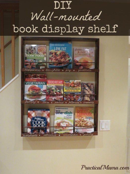 DIY Wallmounted book display shelf for my cookbooks