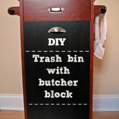 13 Gallon Kitchen Trash Can How Much Is A Remodel Diy: Bin With Butcher Block
