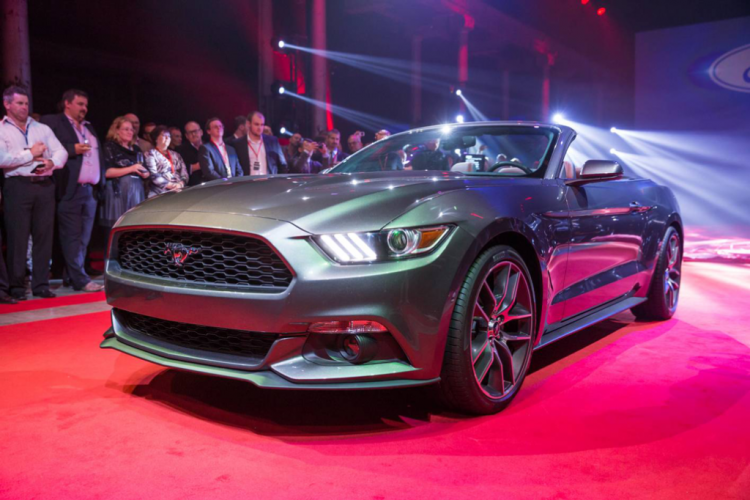 The new Mustang was launched simultaneously at five locations around the world