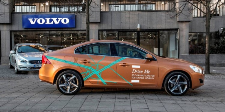 Volvo self-driving cars on the road