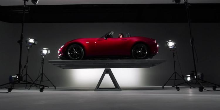 2016 Mazda MX-5 balances on a see-saw