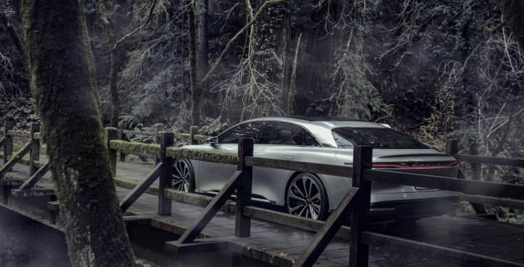Lucid Air gets sideways in the snow