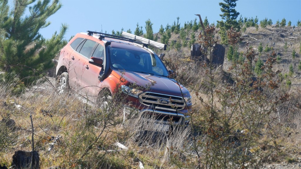 Ford Everest 4WD driving down a steep hill