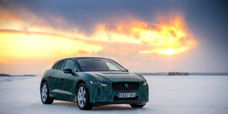 Jaguar I-Pace drifting on ice