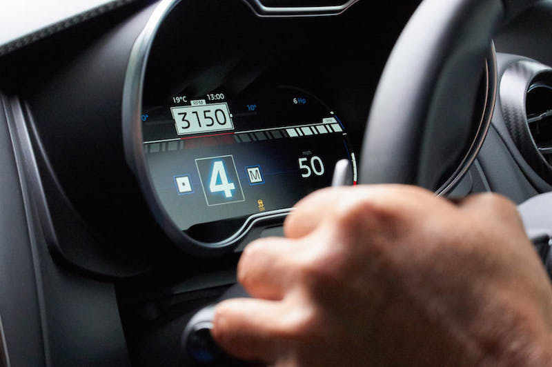The instruments are a TFT screen. In the normal driving mode they fake up a speedo, tacho and three small dials (clock, fuel, temperature). A vacant portion of that display lets you scroll through navigation arrows, trip computer or stereo details. Hit the sports button and the display emphasises revs and gear. Finally, in track mode you get big bar-graphs for revs, shift-up lights, boost and the like.