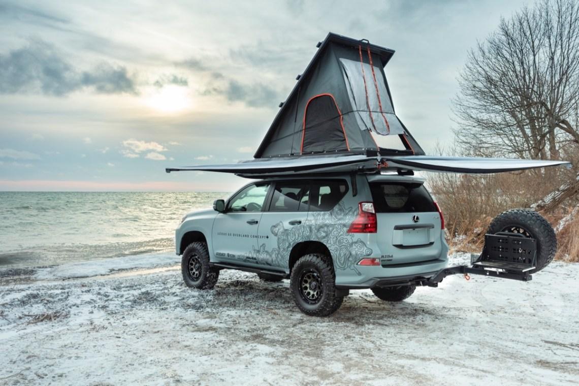 Lexus Overland GX tent setup