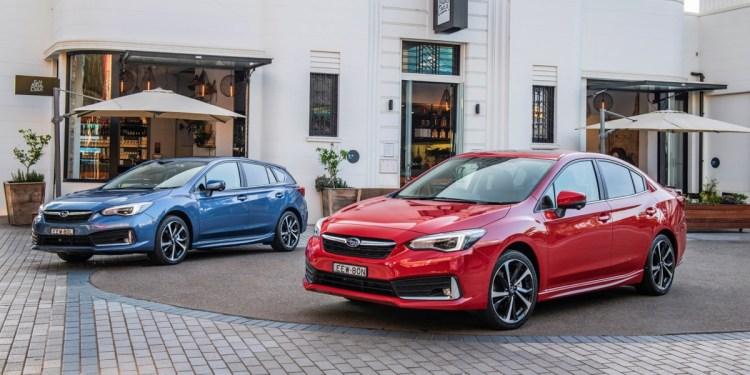 MY20 Subaru Impreza Range, Sedan (red) and Hatch.