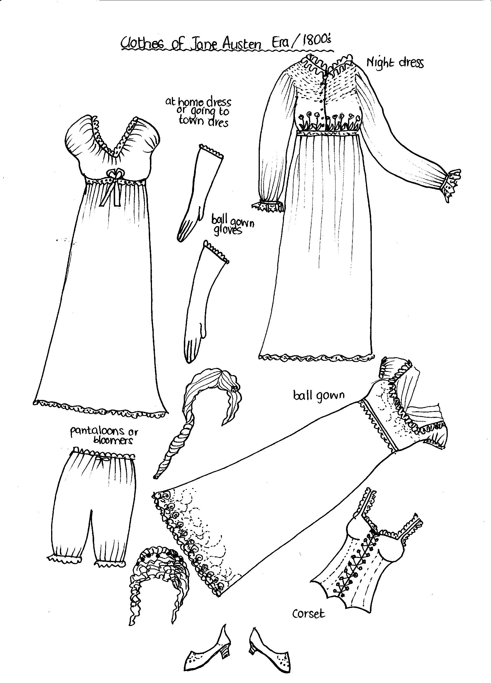 Early S Fashions To Print And Color