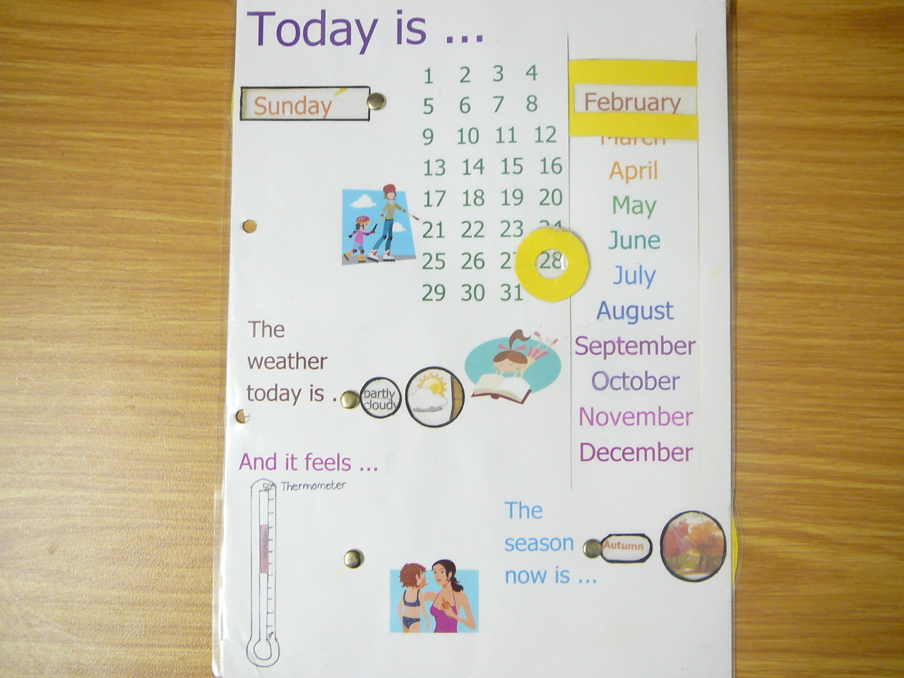 Day Week Month Season And Weather Chart With Rotating