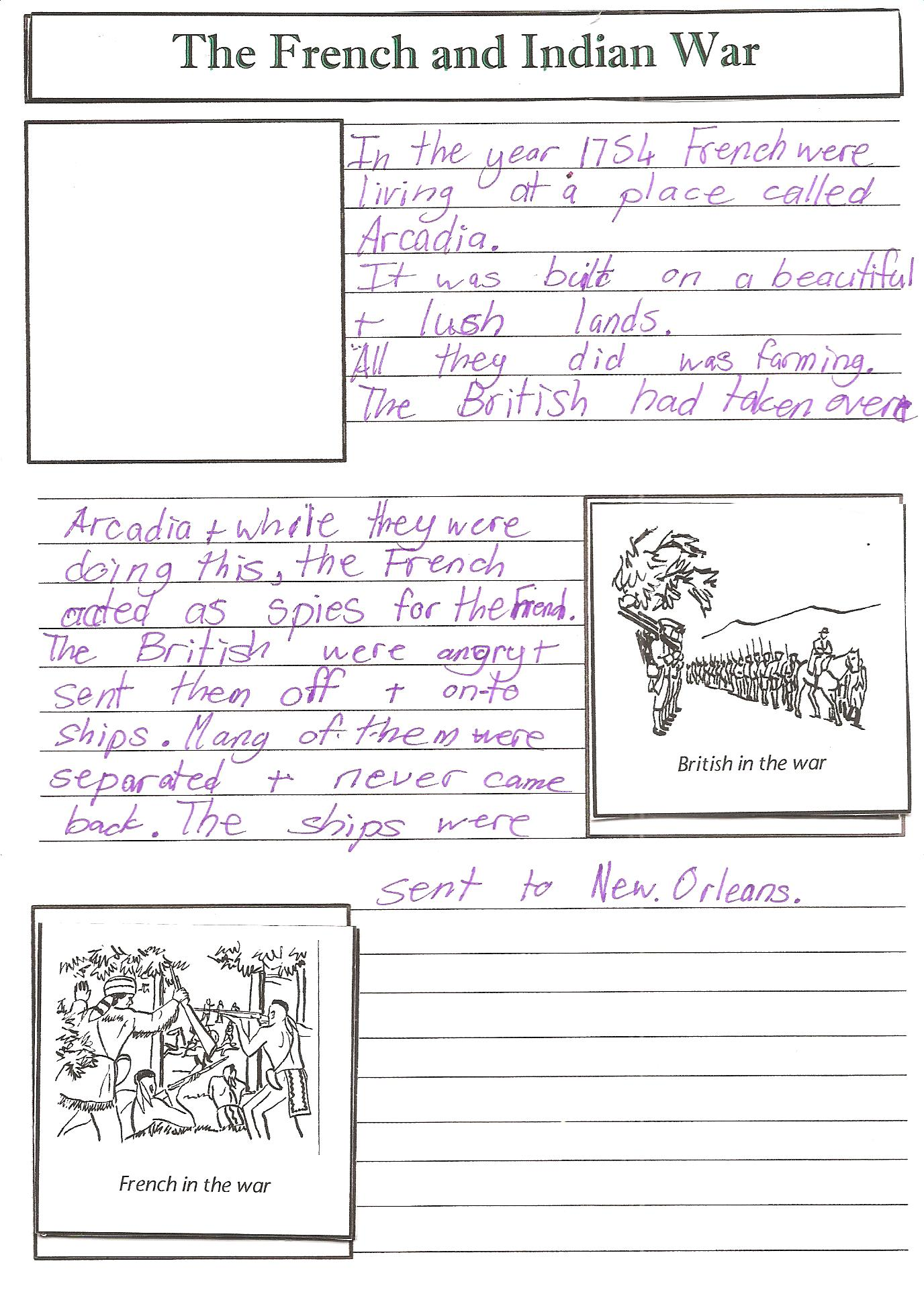 French Indian War Worksheet 5th Grade