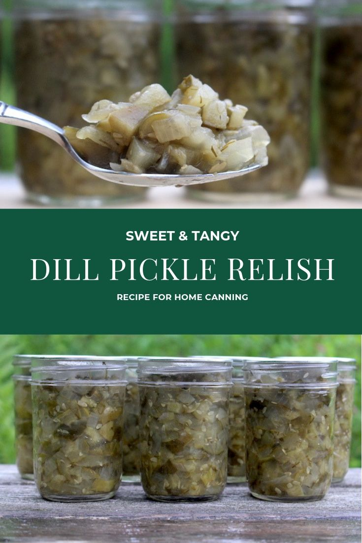 Dill Pickle Relish Recipe for Canning ~ This pickle relish recipe has just enough sweet to balance the tangy vinegar and pickling salt, for a delicious, well rounded topping.  Perfect as a hot dog topping or in all your summer recipes.  Canning instructions provided, but you can also make it as a refrigerator relish pickling recipe.