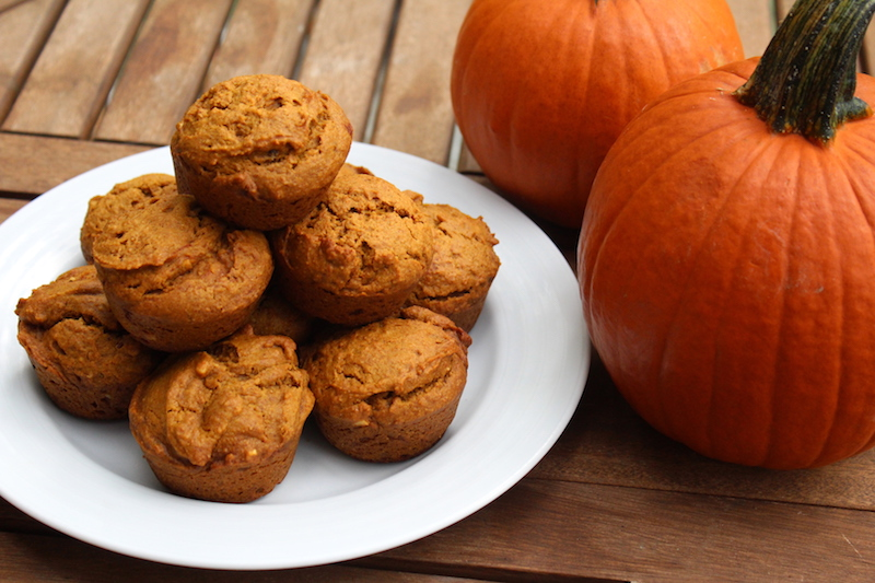 Pumpkin Almond Butter Maple Muffins ~ Whole wheat, maple sweetened with vegan option