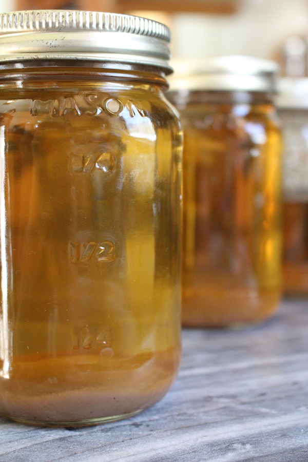 Home canned maple syrup ~ This batch is unfiltered and it has mineral rich maple syrup sand at the bottom.