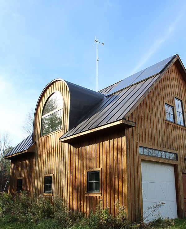 8 solar panels on our shop and a 1kW wind turbine