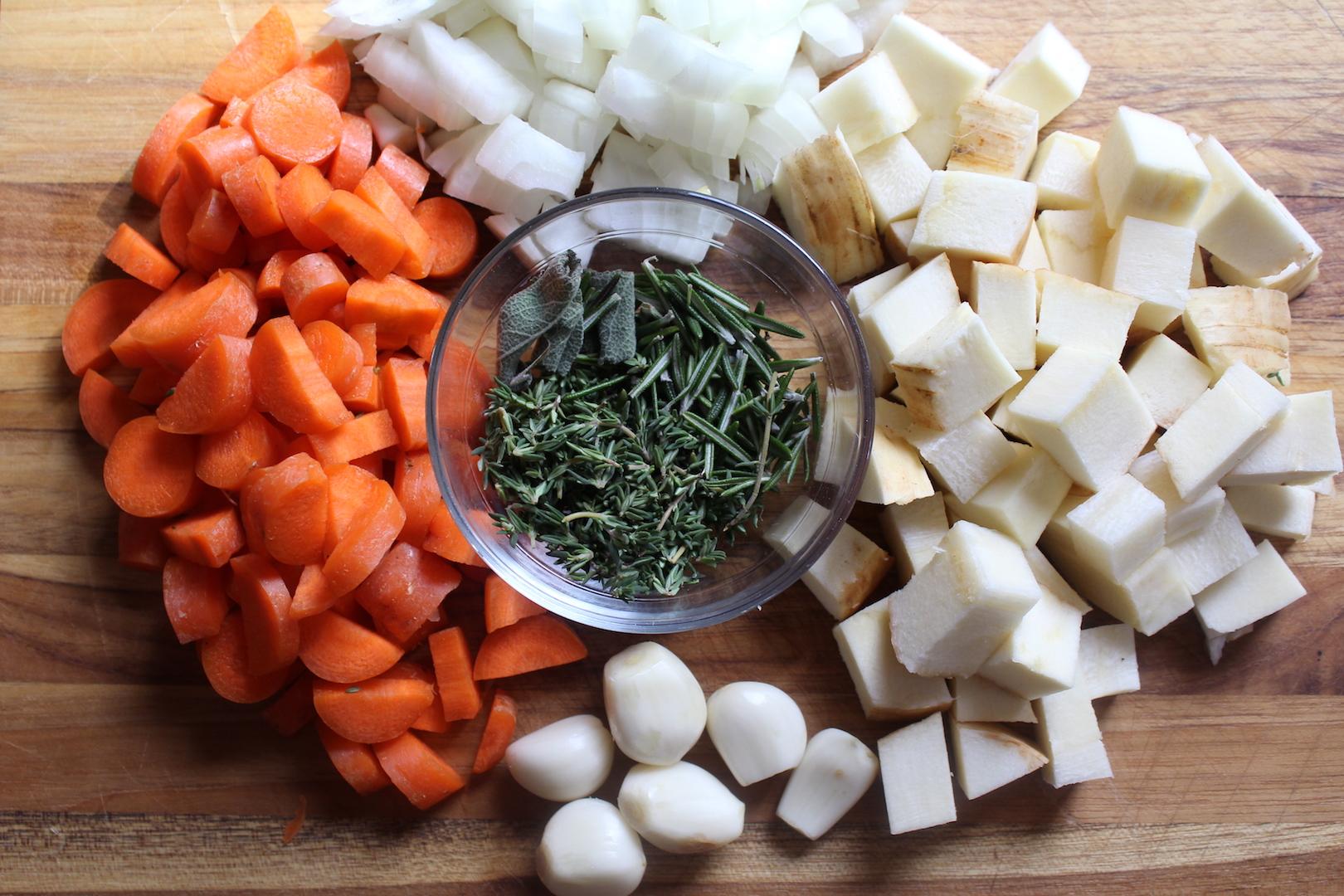 Vegetables for Cassoulet