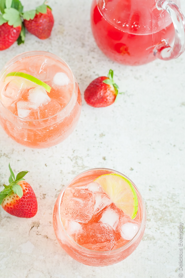 Strawberry Lime and Rhubarb Sparkler