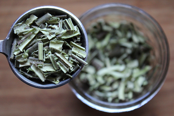 Pieces of dried willow bark for willow bark tea.