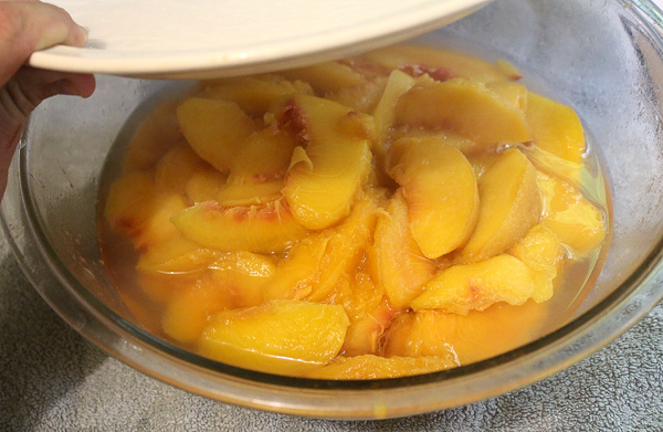 Cooked peaches for home canned peach pie filling