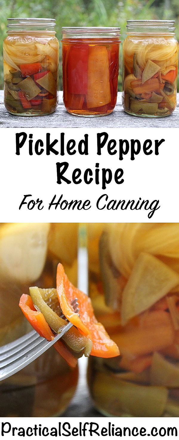 Pickled Pepper Canning Recipe (Hot or Sweet) ~ There's a reason nursery rhymes talk about pickled peppers...they've been good for generations and they're still one of the tastiest ways to preserve peppers. Hot or sweet, it doesn't matter~ Pickled peppers are delicious either way. #peppers #recipes #pepperrecipes #pickledpeppers #canning #foodpreservation #homesteading #selfsufficiency #pickles