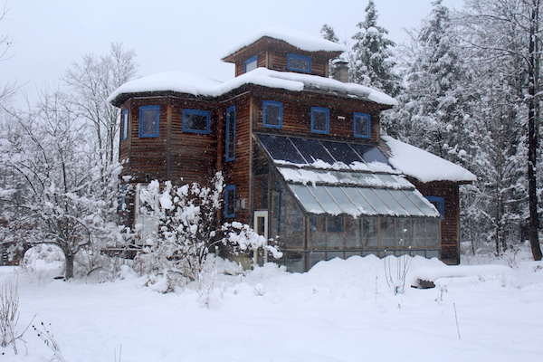 Vermont Off Grid Home in winter