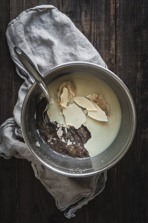 a bowl of bone broth, cooled with a layer of fat