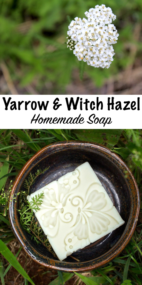 Homemade Yarrow and Witch Hazel Soap ~ A wild foraged all natural soap recipe for fascial soap designed for oily or acne prone skin