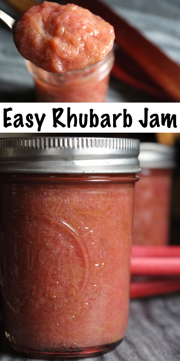 Rhubarb Jam is easy to make at home with just a few ingredients. Here's how to make homemade rhubarb jam three different ways, with no pectin, commercial pectin and natural pectin from citrus seeds. All recipes are perfect for either rhubarb freezer jam or home canning. #rhubarb #recipes #canning #jam #foodpreservation #homesteading