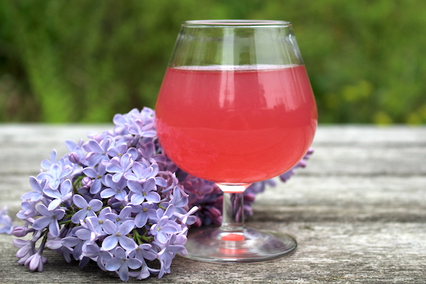 Homemade Lilac wine in a glass