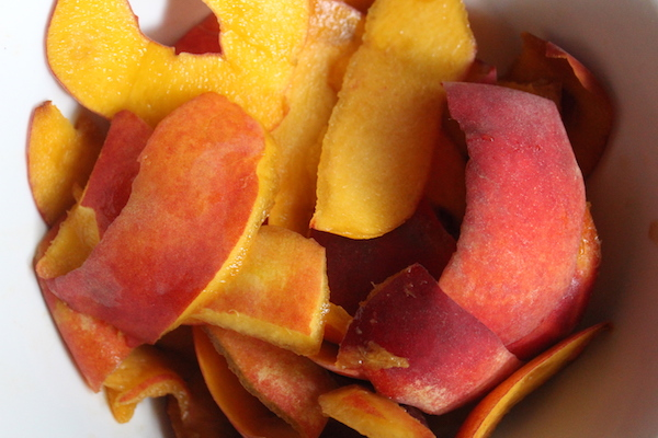 Peach peels for making peach jelly from scraps