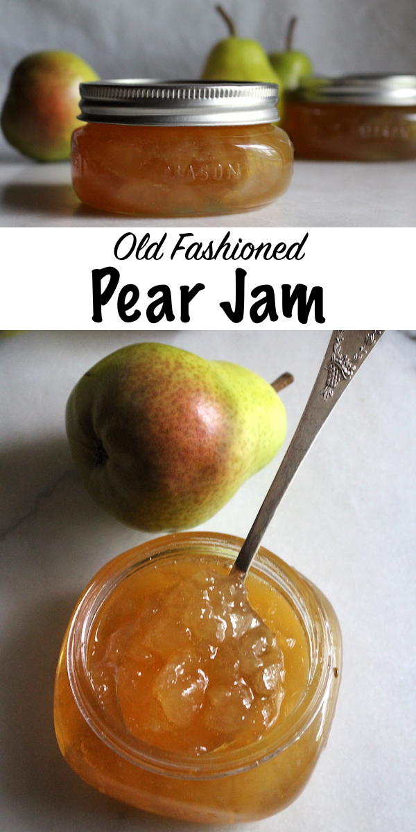 Old Fashioned Pear Jam Recipe ~ A simple old time recipe for homemade pear preserves with no added pectin. All you need is a bit of sugar and lemon to put up the pear harvest with the luscious pear spread. #canning #foodpreservation #preservingfood #homestead #selfreliant #selfsufficiency #homesteading