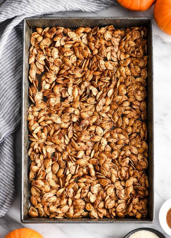Homemade cinnamon sugar roasted pumpkin seeds