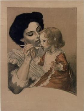 "A Painting titled Rachout Des Arabes, by Théophile Steinlen shows a mother feeding her sick child this ""health tonic"" to help the child recover."