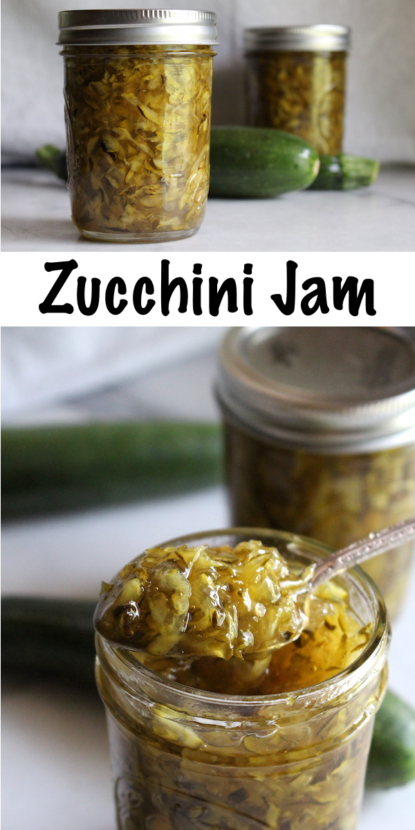 Zucchini Jam (Marmalade) ~ Looking for a creative way to preserve zucchini?  This easy zucchini jam recipe is incredibly tasty!  Make a refrigerator jam, or can it up for long term preservation.  If you need just one more creative zucchini recipe this summer, look no further! #zucchini #canning #jam