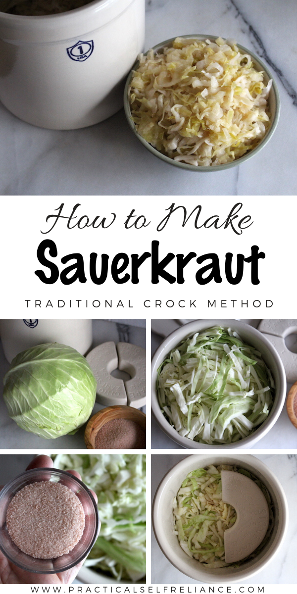 How to Make Sauerkraut in a Crock ~ The traditional method for making sauerkraut goes back millennia, and all you need is two ingredients, a crock and some patience. #fermenting #sauerkraut #probiotic #ferment #nourishingtraditions