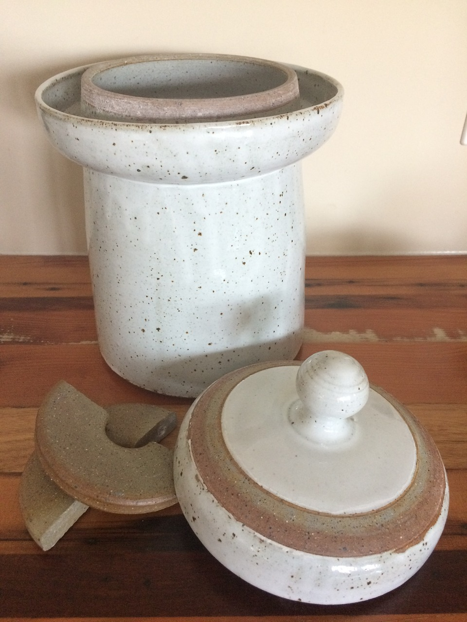 Stoneware Sauerkraut Crock with a Water Seal