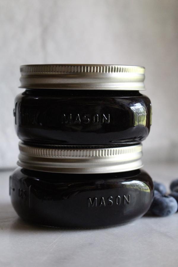 Canning blueberry jam in mason jars