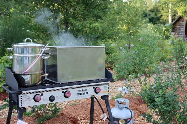 Using a steam juicer in my outdoor canning kitchen