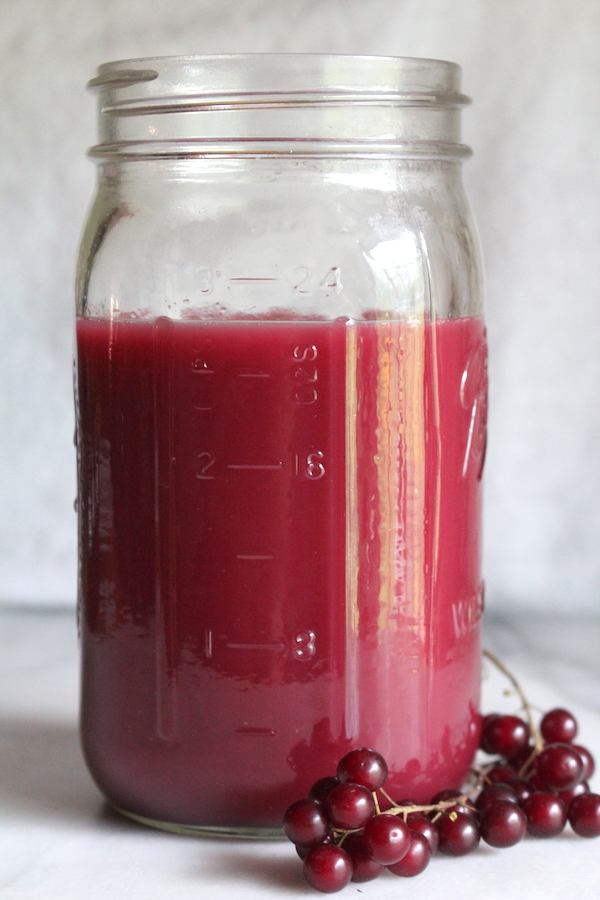 chokecherry juice extracted in a steam juicer