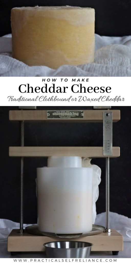 How to Make Cheddar Cheese ~ Learn how to make homemade cheddar cheese, either as a traditional cloth bound recipe or a simpler waxed cheddar.