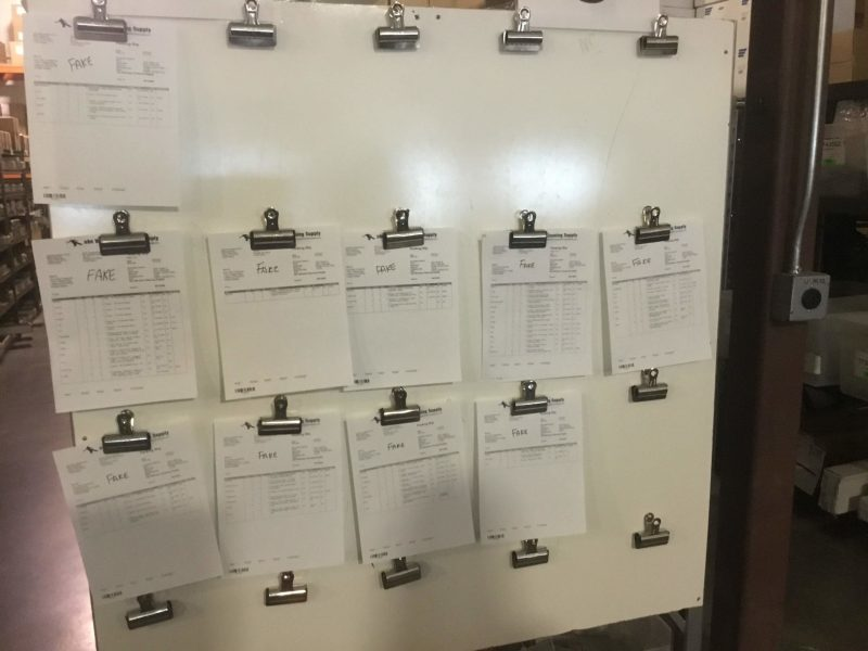 Pick tickets on board waiting for pickers to pull orders.