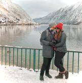Lia and Jeremy Travel Couple in Hallstatt Austria in the Winter